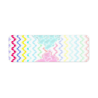 Funky Abstract Waves Ripples Teal Hot Pink Pattern Return Address Label