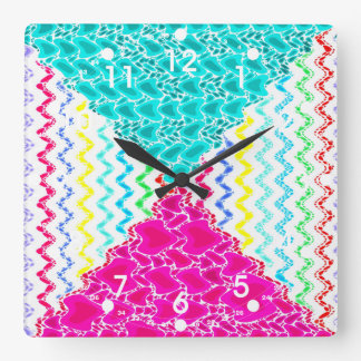 Funky Abstract Waves Ripples Teal Hot Pink Pattern Square Wall Clock