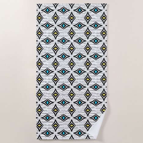 Funky abstract yellow and blue sapphire gems beach towel