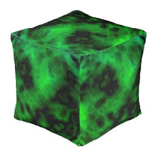 Funky Alien Neon Emerald Green Abstract Cube Pouf