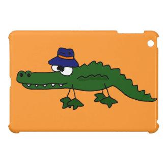 Funky Alligator Wearing Fishing Hat Cartoon Cover For The iPad Mini