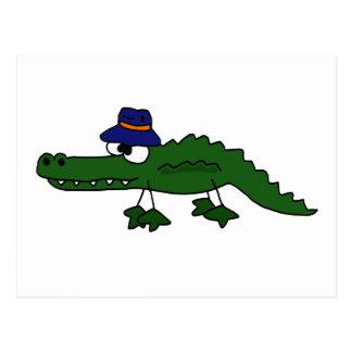 Funky Alligator Wearing Fishing Hat Cartoon Postcard