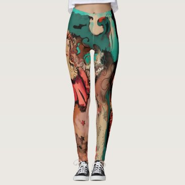 Beach Themed Funky and fun art deco bright colors and black leggings