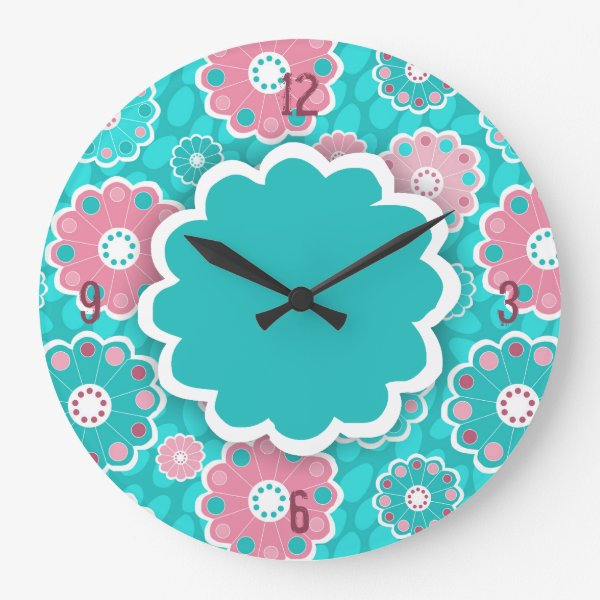 Funky aqua and pink floral abstract large clock