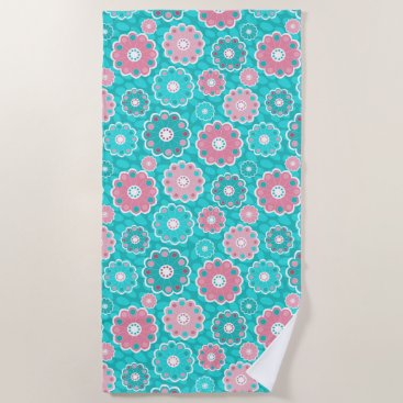 Beach Themed Funky aqua and pink floral beach towel