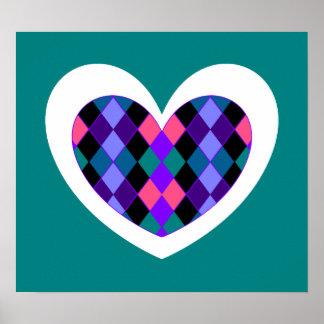 Funky argyle heart poster