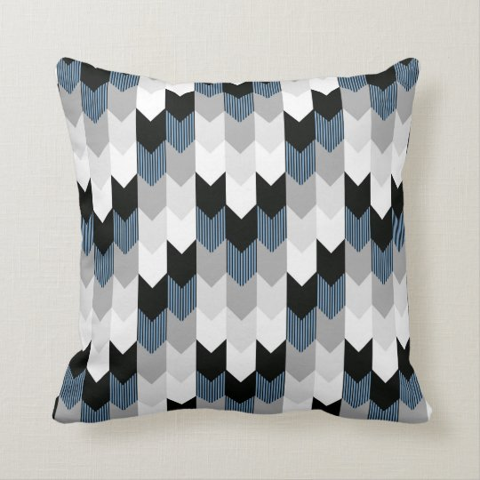 Blue White Throw Pillow : Funky Arrow Chevron Stripes Black Grey Blue White Throw Pillow Zazzle.com
