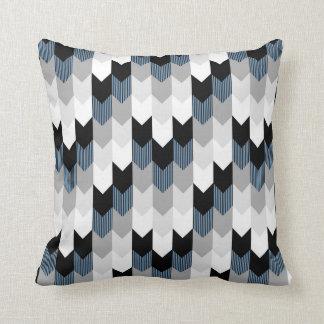 Funky Arrow Chevron Stripes Black Grey Blue White Throw Pillow