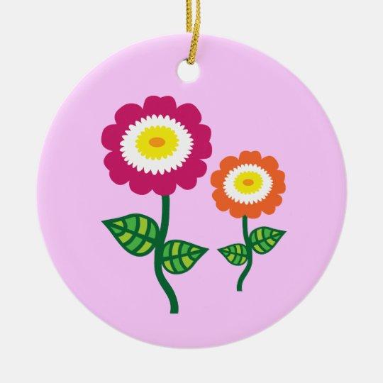 Funky Art Flowers Ceramic Ornament