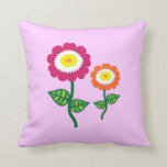 Funky Art Flowers Throw Pillows
