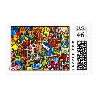 funky artistic murale postage stamp