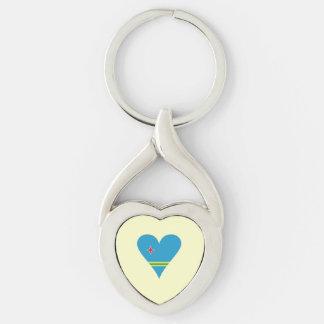 Funky Aruba Heart Flag Silver-Colored Heart-Shaped Metal Keychain