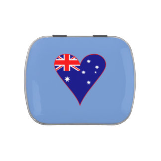 Funky Australia Heart Flag w/ Red Border Jelly Belly Candy Tins