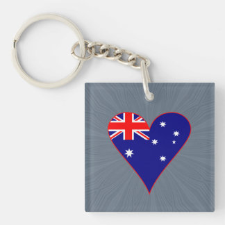 Funky Australia Heart Flag w/ Red Border Keychain