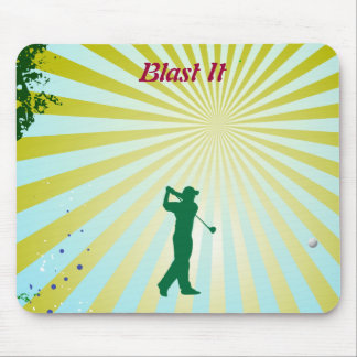 Funky background with golfer hitting ball mousepad