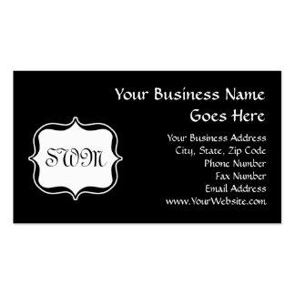Funky Backside Zebra Black/White Monogram Business Card