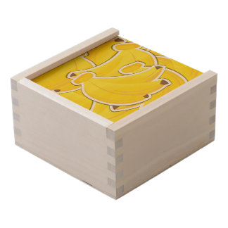 Funky bananas wooden keepsake box