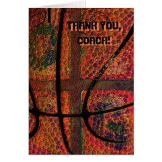 funky basketball ball - thank you, Coach Greeting Card