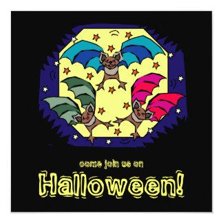 "Funky Bats Halloween Party Invitation 5.25"" Square Invitation Card"