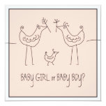 Funky Bird Couple Baby Gender Reveal Party 5.25x5.25 Square Paper Invitation Card