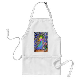 Funky Bird Watercolor and Ink Drawing Aprons