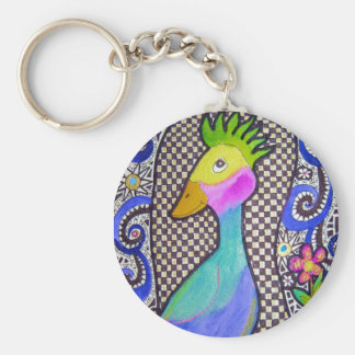 Funky Bird Watercolor and Ink Drawing Basic Round Button Keychain