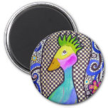 Funky Bird Watercolor and Ink Drawing Refrigerator Magnet