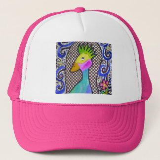 Funky Bird Watercolor and Ink Drawing Trucker Hat