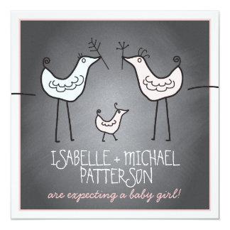Funky Birds Modern Chalkboard Couples Baby Shower Card