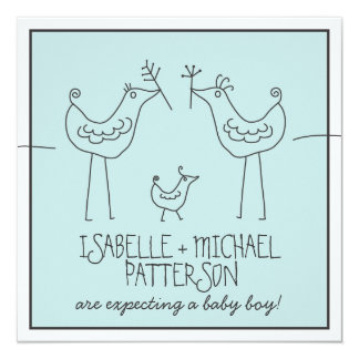 Funky Birds Modern Family Couples Baby Boy Shower Card
