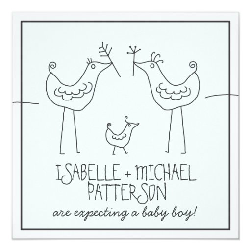 Funky Birds Modern Family Couples Baby Boy Shower 5.25x5.25 Square Paper Invitation Card