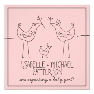 Funky Birds Modern Family Couples Baby Girl Shower Personalized Invitations
