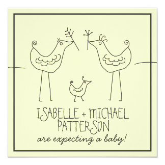 Funky Birds Modern Family Couples Baby Shower Personalized Announcements