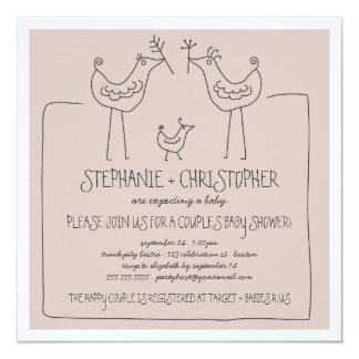 Funky Birds Modern Family Couples Baby Shower Tan Card