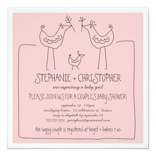Funky Birds Modern Family Couples Girl Baby Shower Card