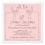 Funky Birds Modern Family Couples Girl Baby Shower 5.25x5.25 Square Paper Invitation Card
