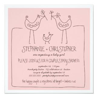 Funky Birds Modern Family Couples Girl Baby Shower Invitation