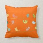 funky birds on a wire throw pillow_orange pillow