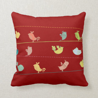 funky birds on a wire throw pillow_red throw pillow