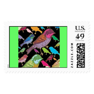 Funky Birds Postage Stamps