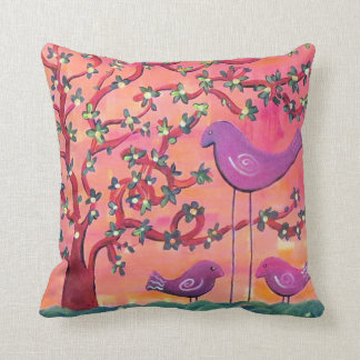 Funky Birds Throw Pillow