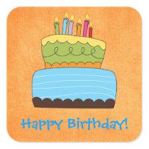 Funky Birthday Cake Happy Wishes Sticker