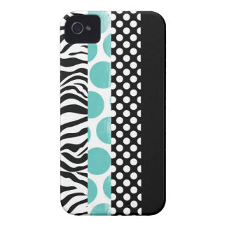Funky Black and Blue Patterns iPhone 4 Case-Mate Case