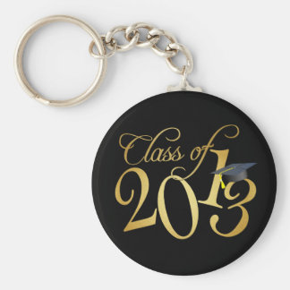 Funky Black and Gold Class of 2013 Keychain
