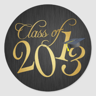 Funky black and gold Class of 2013 Sticker