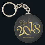 "Funky Black and Gold Class of 2018 Graduations Keychain<br><div class=""desc"">Funky black and Gold Class of 2018 Key-chains.  Personalized Gradations 2018 Key-chains.</div>"