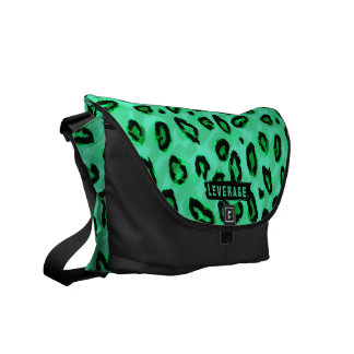 Funky Black And Green Leopard Messenger Purse Courier Bag