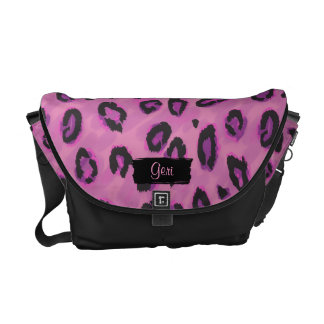 Funky Black And Pink Leopard Messenger Purse Messenger Bag