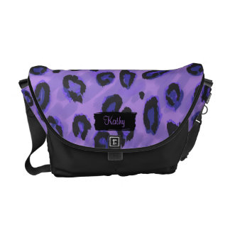 Funky Black And Purple Leopard Messenger Purse Courier Bag