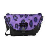Funky Black And Purple Leopard Messenger Purse Commuter Bags